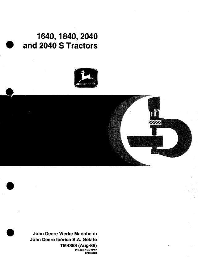 John Deere 1640 1840 2040 2040S Tractors TM4363 Technical Manual PDF