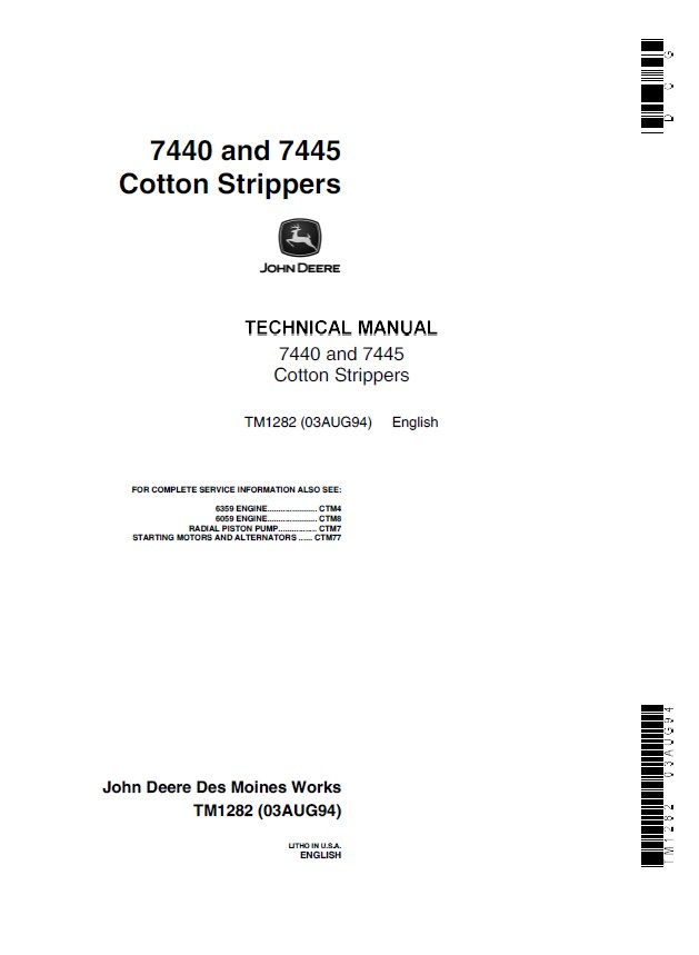 john deere 7440 7445 cotton strippers tm1282 technical manual pdf john deere 7440 & 7445 cotton strippers tm1282 technical manual  at aneh.co