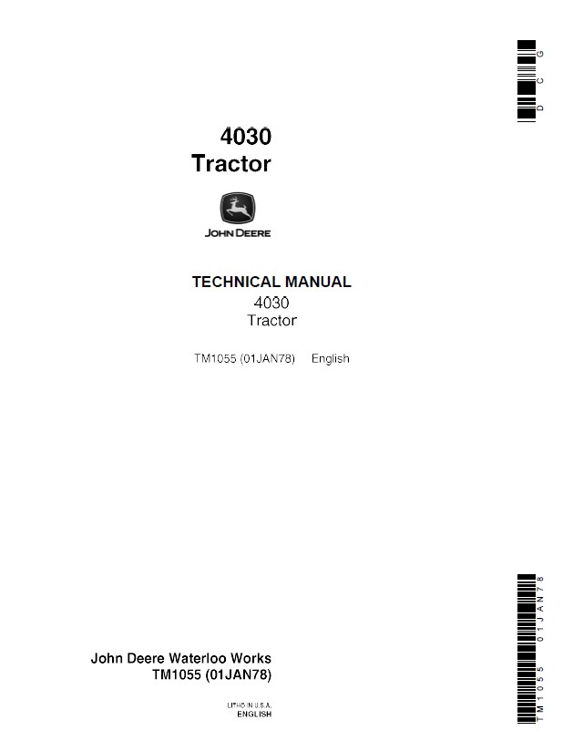 John    Deere       4030    Tractor TM1055 Technical Manual PDF