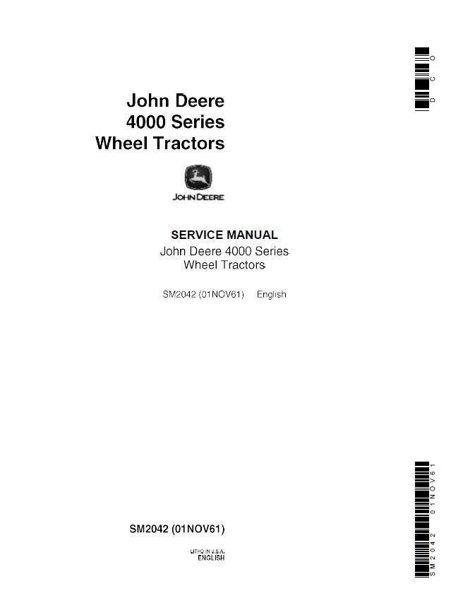 John Deere 4000 Series Wheel Tractors SM2042 PDF Manual – John Deere 4000 Wiring Diagram