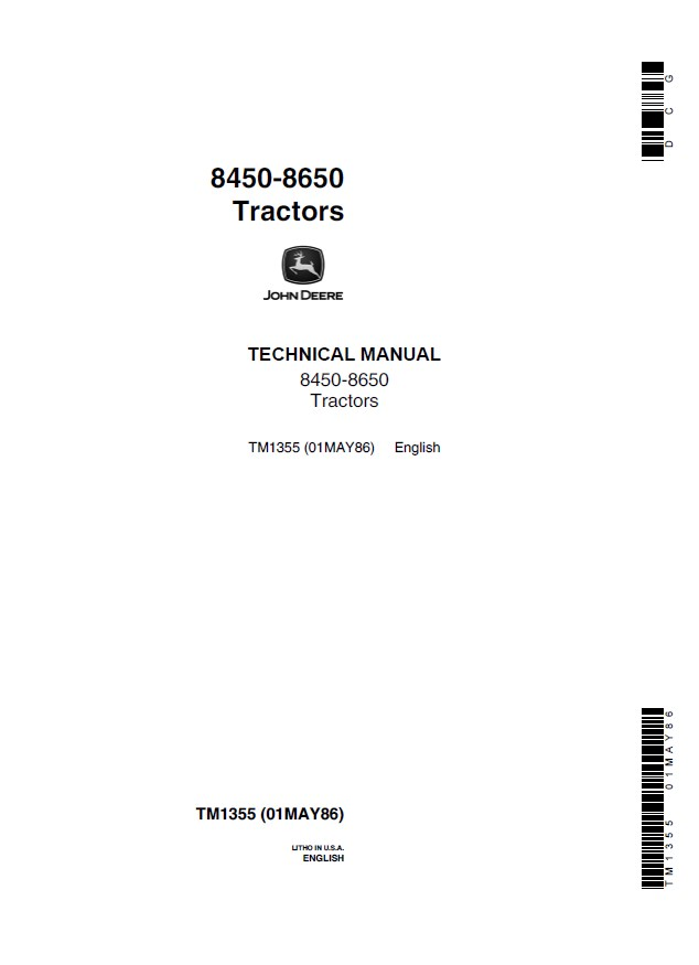 john deere 8450 8650 tractors tm1355 technical manual pdf rh epcatalogs com john deere 850 manual free download John Deere 7020