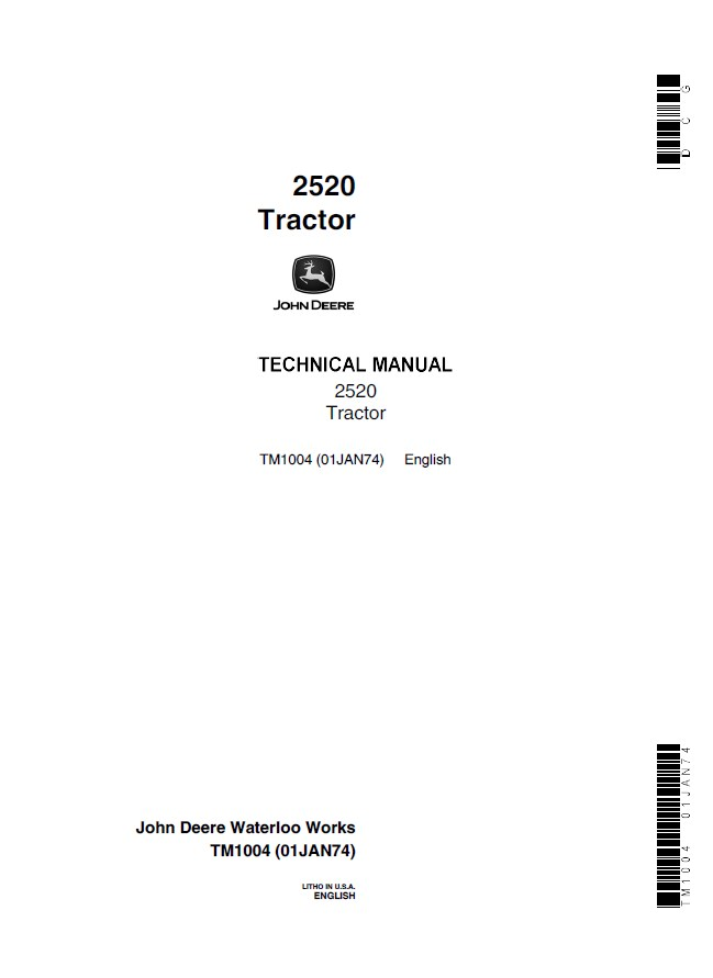 John Deere 2520 Tractor Tm1004 Technical Manual Pdf