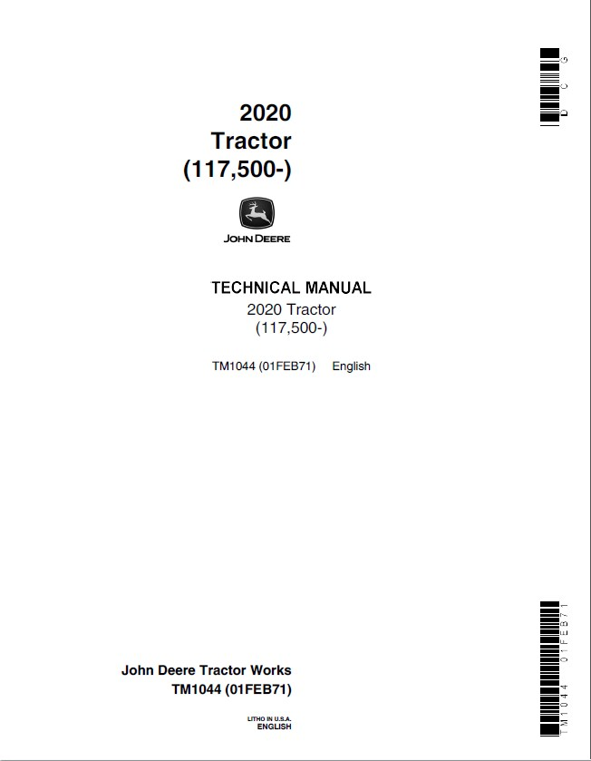 john deere 2020 tractor tm1044 technical manual pdf rh epcatalogs com john deere 2020 parts manual John Deere Riding Mower Manuals