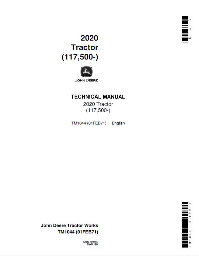 john deere 2020 tractor tm1044 technical manual pdf rh epcatalogs com John Deere Ignition Wiring Diagram John Deere 265 Wiring-Diagram