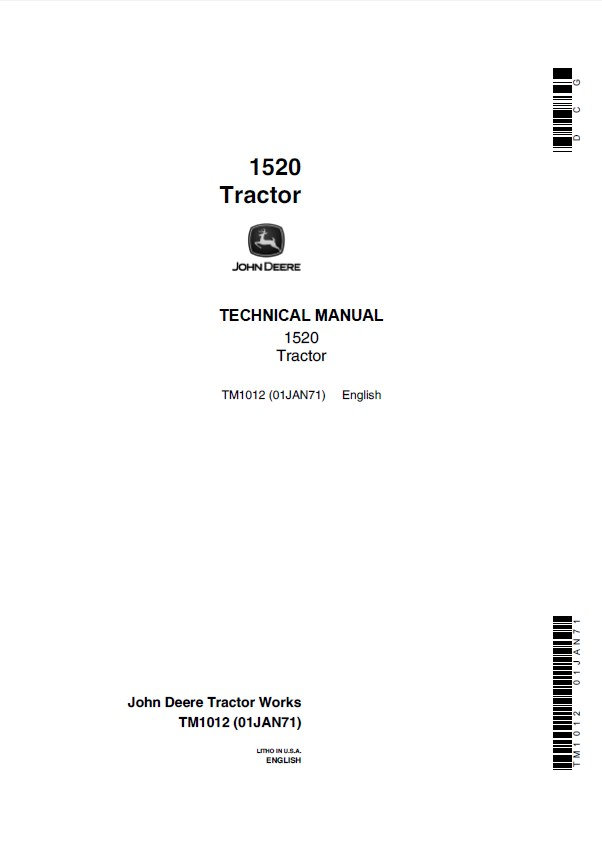 john deere 1520 tractor tm1012 technical manual pdf. Black Bedroom Furniture Sets. Home Design Ideas