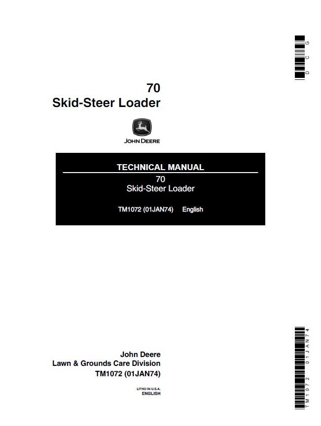 john deere 70 skid steer loader tm1072 pdf manual. Black Bedroom Furniture Sets. Home Design Ideas