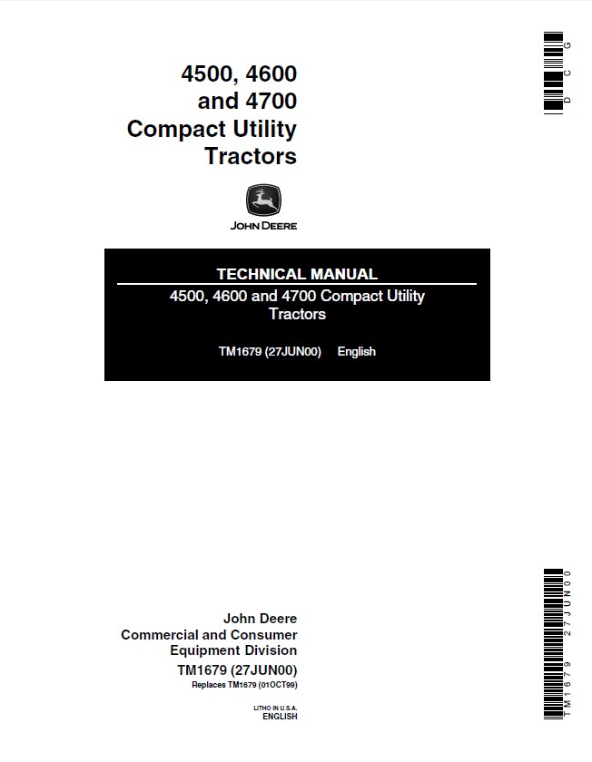 John Deere 4500 4600 4700 Compact Utility Tractors TM1679 on ford 4500 tractor wiring diagram, john deere 4400 tractor wiring diagram, john deere 4600 tractor wiring diagram,