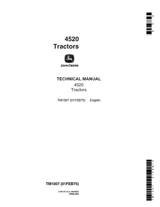 john deere 4520 tractors tm1007 technical manual pdf. Black Bedroom Furniture Sets. Home Design Ideas