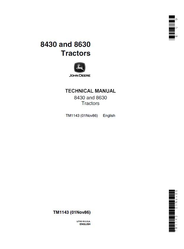 John Deere 8430  U0026 8630 Tractors Tm1143 Pdf Manual