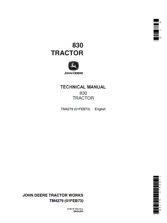 John Deere 830 Tractor Tm4279 Technical Manual Pdf