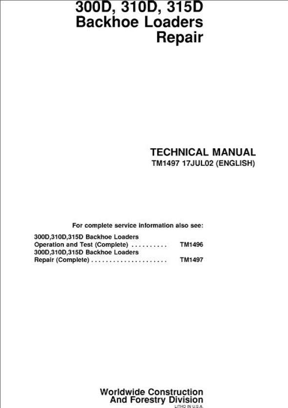john deere 300d 310d 315d backhoe loaders repair technical manual tm1497 john deere 310d backhoe repair manual the best deer 2017 john deere 310a wiring diagram at aneh.co