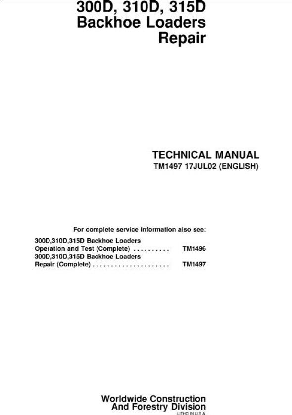 John Deere D D D Backhoe Loaders Repair Technical Manual Tm on Cat Backhoe Wiring Diagram