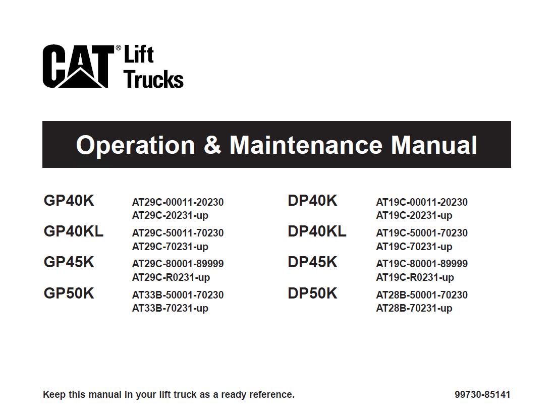 Cat Gp40k Kl Gp45 50k Dp40k Kl Dp45 50k Lift Trucks Pdf