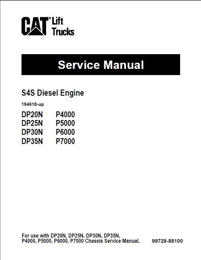 caterpillar s4s diesel engine dp20n dp25n dp30n dp35n lift trucks service manual pdf repair