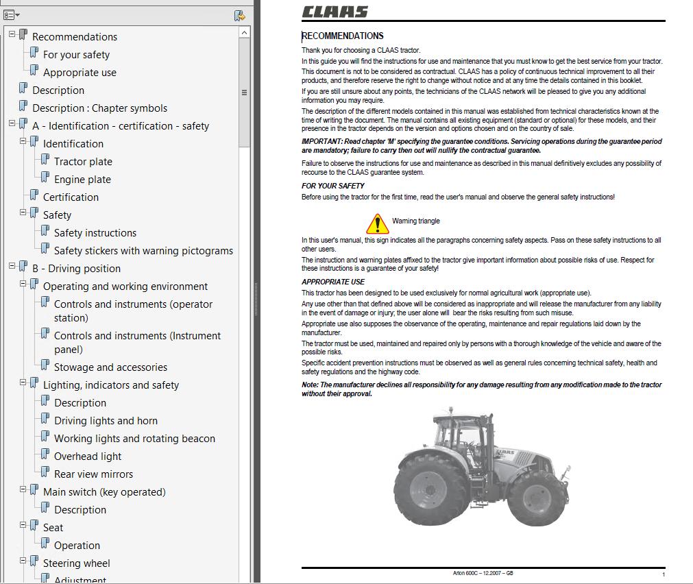 Claas Arion 610c 620c 630c Tractor Use  U0026 Maintenance Manual Pdf
