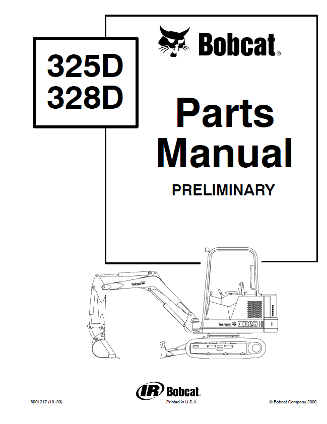 Bobcat 325, 328 D-Series Excavators Parts Manual Preliminary PDF
