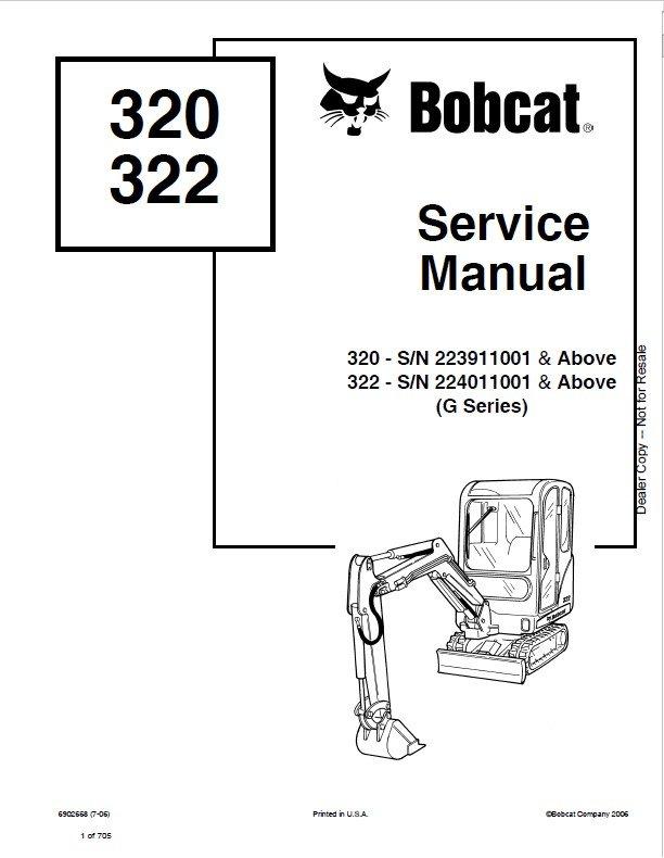 Bobcat 320  322  G Series  Excavator Service Manuals Pdf
