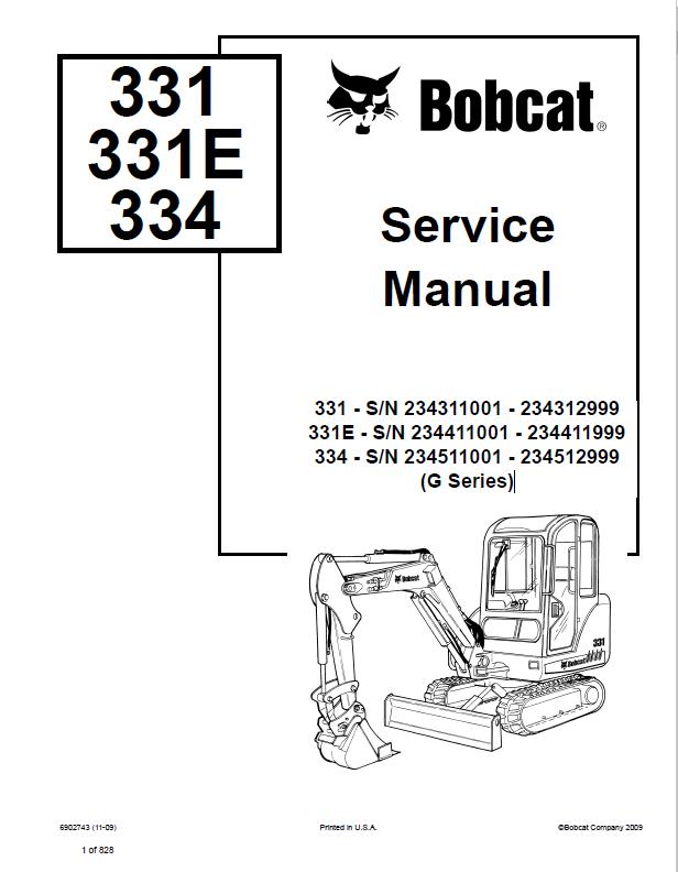 bobcat 331 331e 334 excavator g series service manual pdf rh epcatalogs com Bobcat Skid Steer Control Wiring Bobcat Skid Steer Hydraulic Diagram