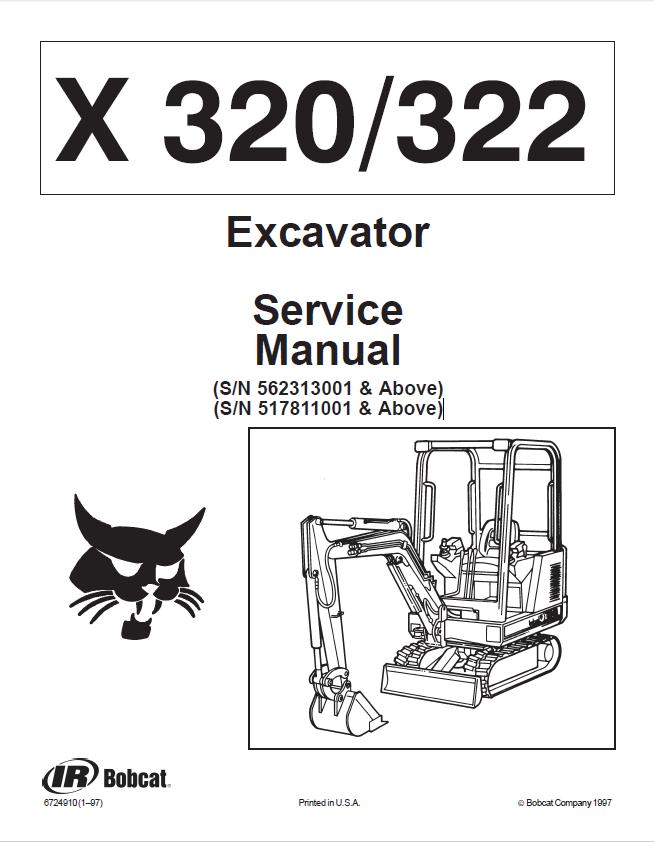 bobcat x 320  u0026 x 322 excavator service manual pdf