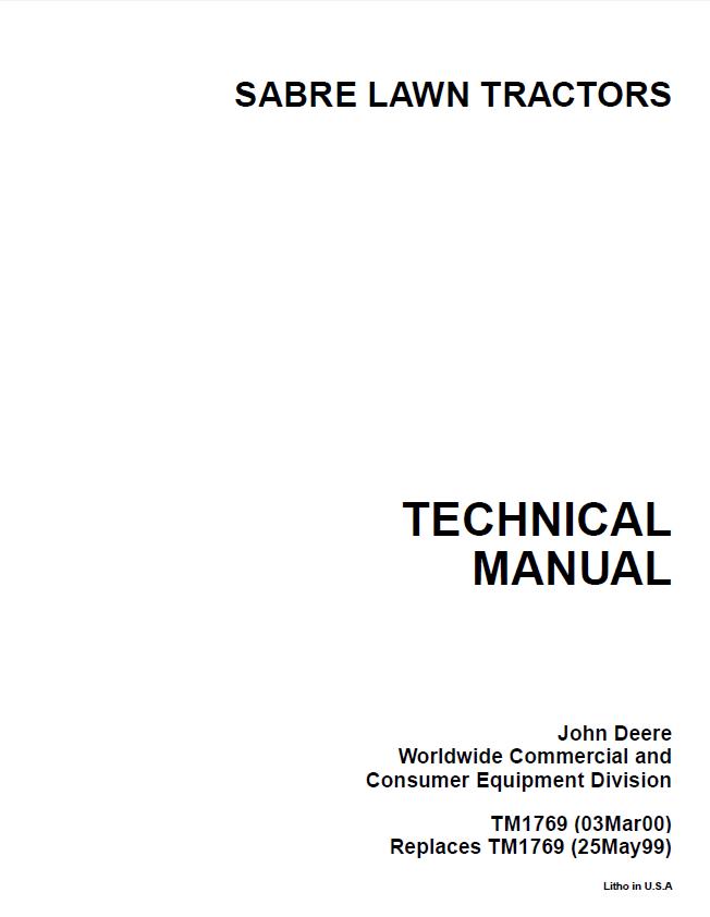 john deere sabre 1742 wiring diagram: john deere sabre lawn garden tractor  tm1769 repair manual