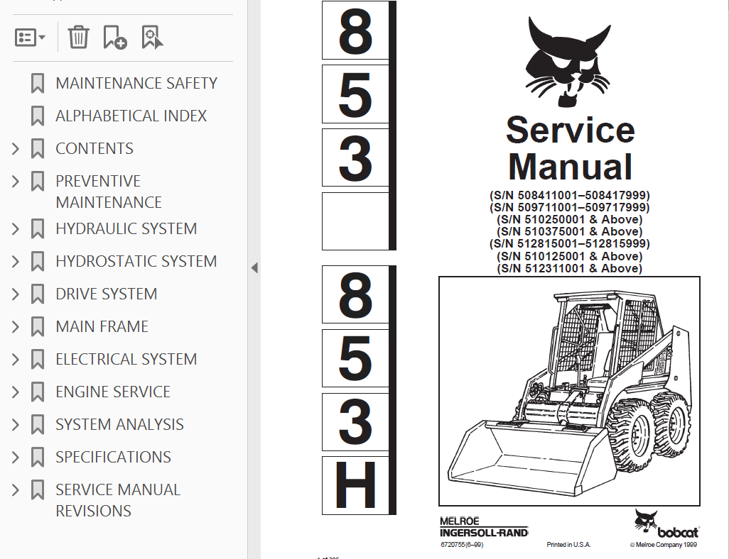 bobcat 853 853h skid steer loader service manual pdf rh epcatalogs com bobcat 853 service manual Bobcat 853 Parts Breakdown