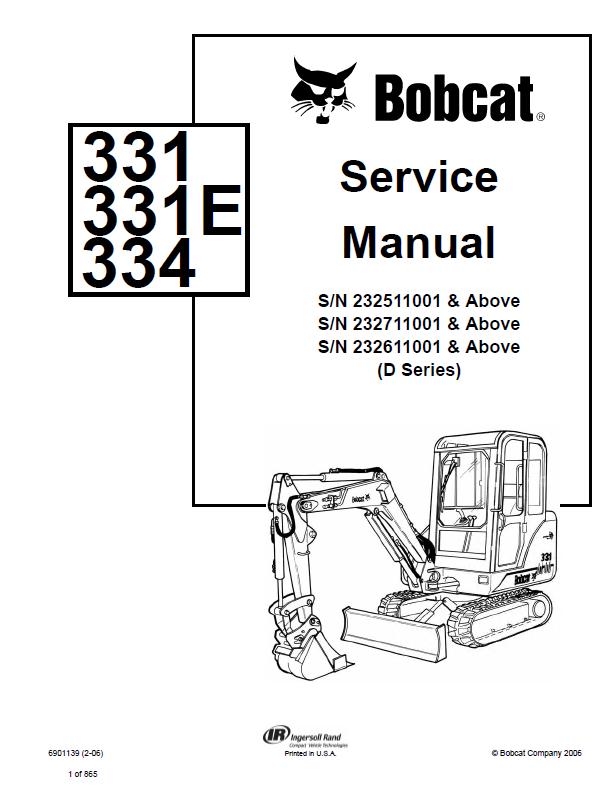 Bobcat 331 331e 334 Excavator D