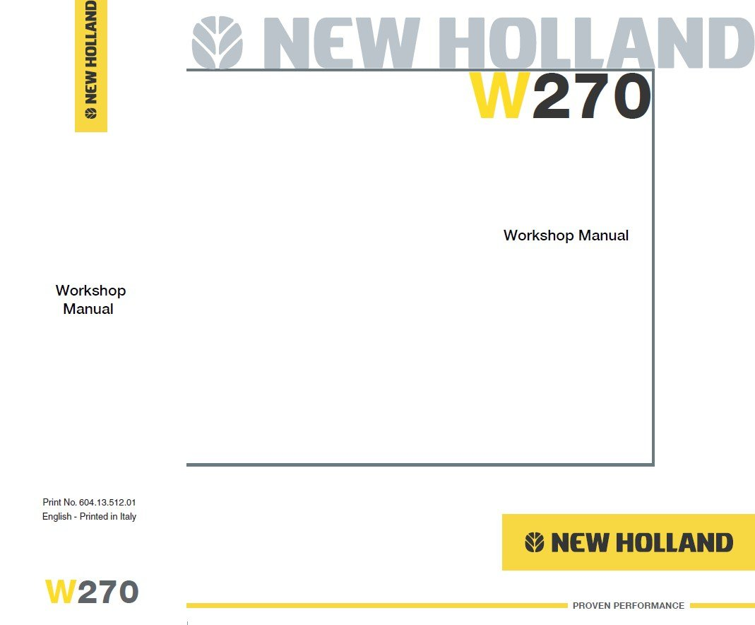 repair manual New Holland W270 Wheel Loader Workshop Manual PDF