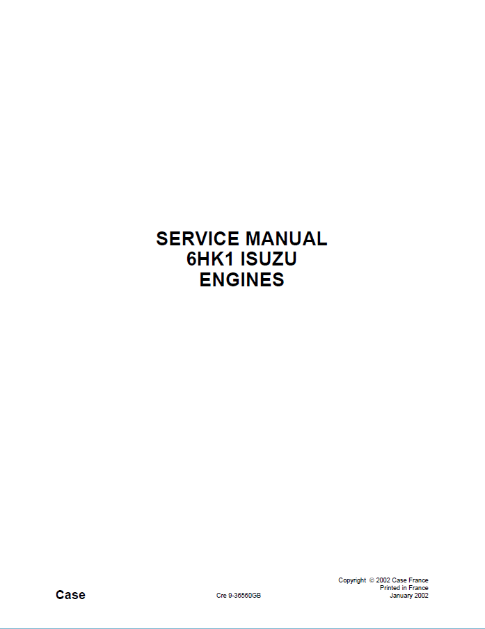 Isuzu Engine 6hk1 For Case Service Manual Pdf