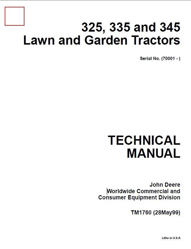 John Deere 325 335 345 Lawn Garden Tractors Repair Manual TM1760 | John Deere 345 Engine Diagram |  | EPCATALOGS