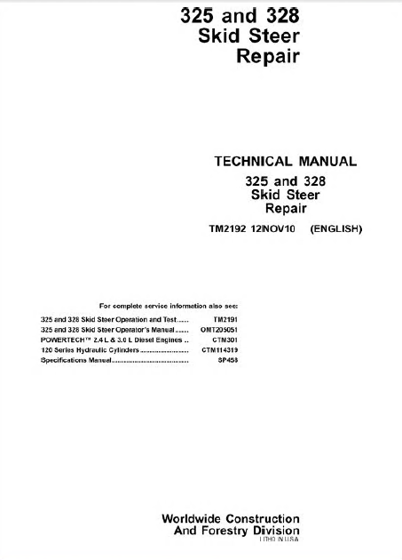 John Deere 325 & 328 Skid Steer Loader Technical Manual TM2192 PDF