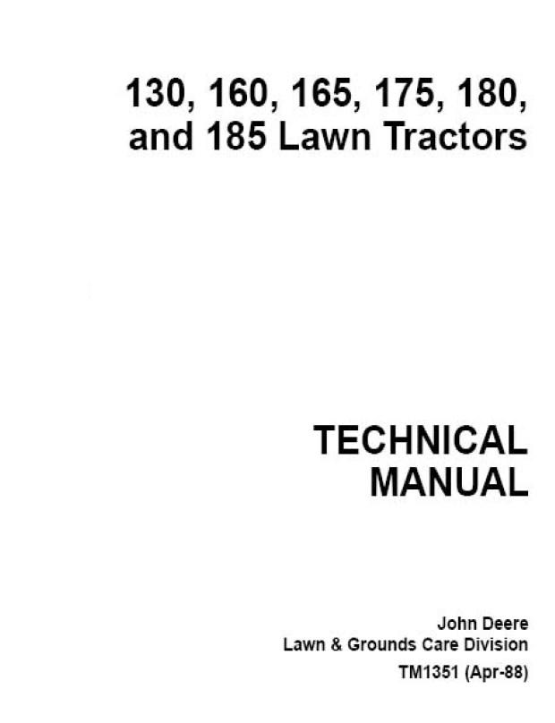john deere 130 160 165 175 180 185 lawn tractors tm1351. Black Bedroom Furniture Sets. Home Design Ideas