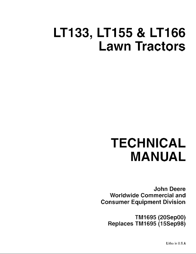 john deere lt133 lt155 lt166 lawn tractors tm1695 technical repair manual john deere lt133 lt155 lt166 lawn tractors tm1695 technical manual pdf