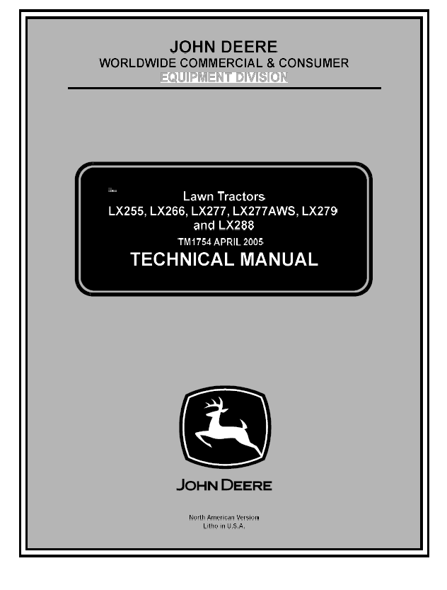 John Deere Lx Lawn Tractor Tm1754 Technical Manual Pdf