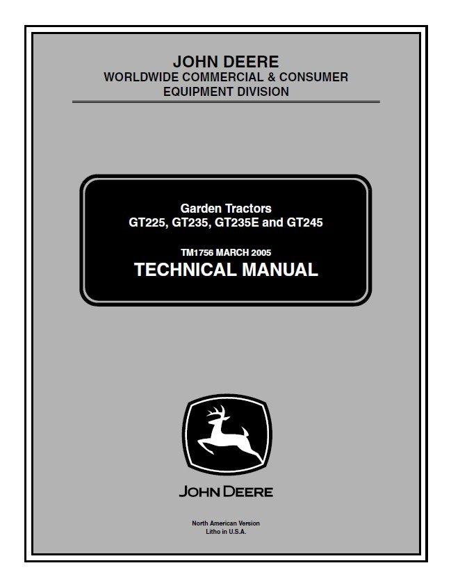 Jd John Deere Gt225 Gt235 Tractors Technical Manual Manual Guide