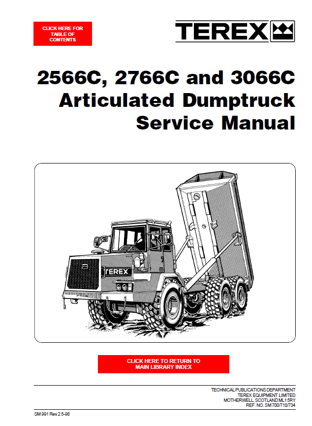 terex 2566c 2766c 3066c articulated dumptruck service. Black Bedroom Furniture Sets. Home Design Ideas