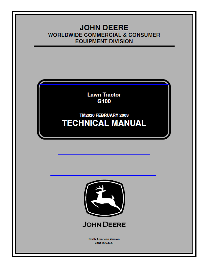 John Deere Lawn Tractor G100 Pdf Technical Manual Tm2020 Manual Guide
