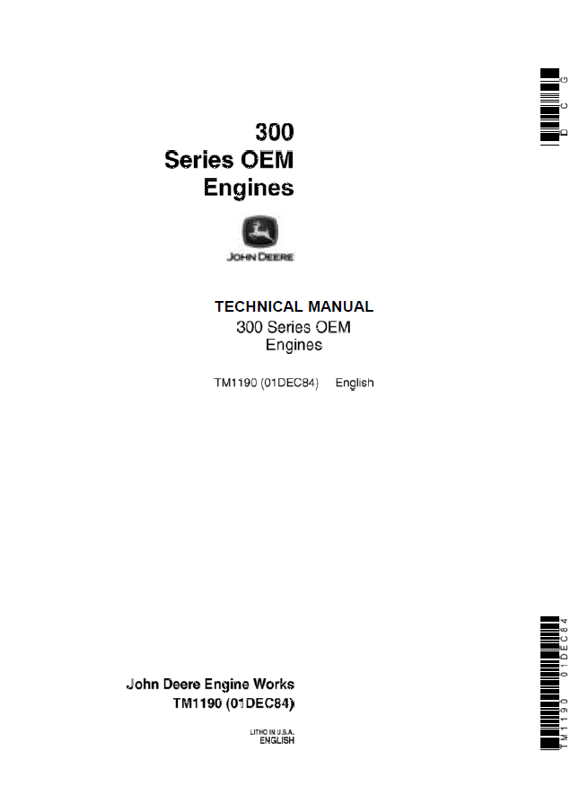john deere 300 series oem engines technical manual tm1190 repair repair manual john deere 300 series oem engines technical manual tm1190
