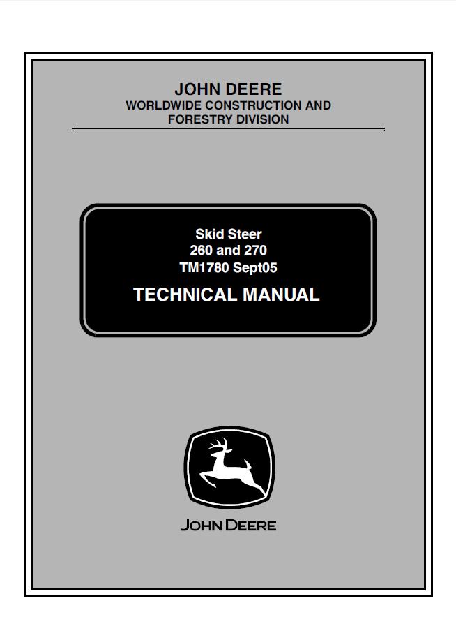 john deere 260 270 skid steer loaders technical manual rh epcatalogs com john deere 260 skid steer wiring schematic john deere 260 backhoe installation manual