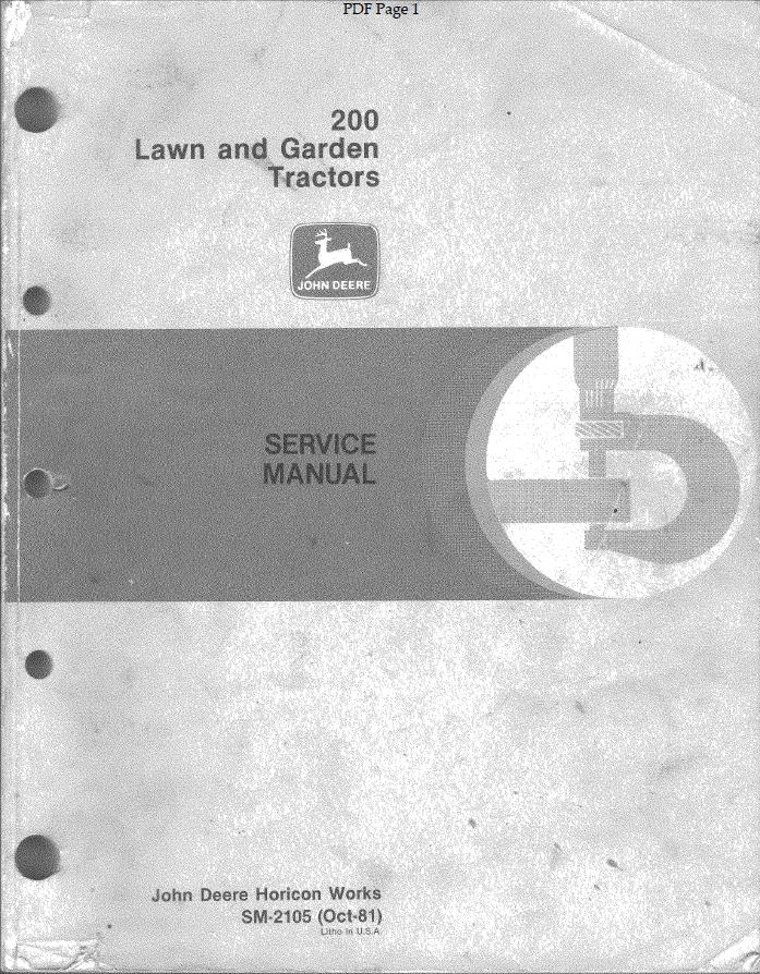 john deere 200 series lawn garden tractors service manual. Black Bedroom Furniture Sets. Home Design Ideas
