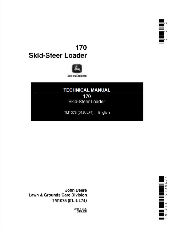 John Deere 170 Skid Steer Loader Technical Manual Tm1075