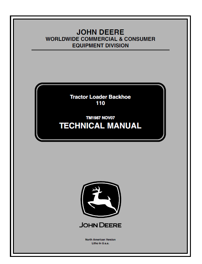 john deere 110 tractor loader backhoe technical manual tm 1987 john deere d170 wiring diagram free wiring diagrams