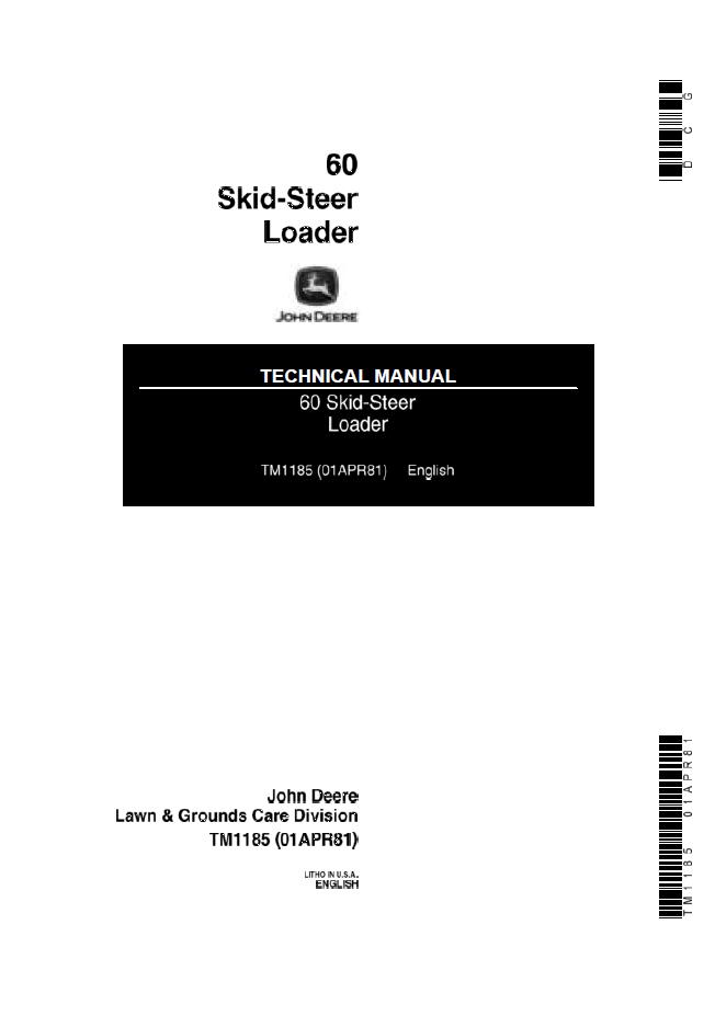 john deere 60 skid steer loader technical manual tm1185. Black Bedroom Furniture Sets. Home Design Ideas