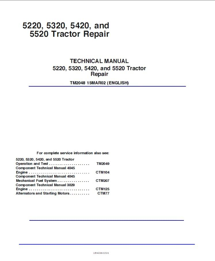 John Deere 5220 5320 5420 5520 Tractor Repair TM2048 Technical Manual on