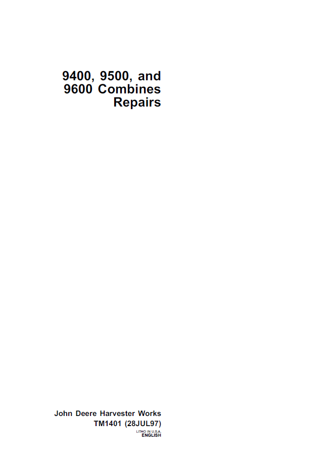 9600 John Deere Combine Wiring Diagram : John deere combines technical manual pdf
