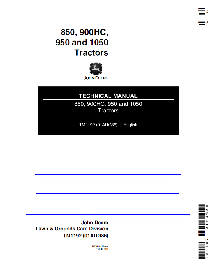 john deere 850 900hc 950 1050 tractors pdf technical manual john deere 850, 900hc, 950, 1050 tractors tm1192 technical manual john deere 850 wiring diagram at gsmportal.co