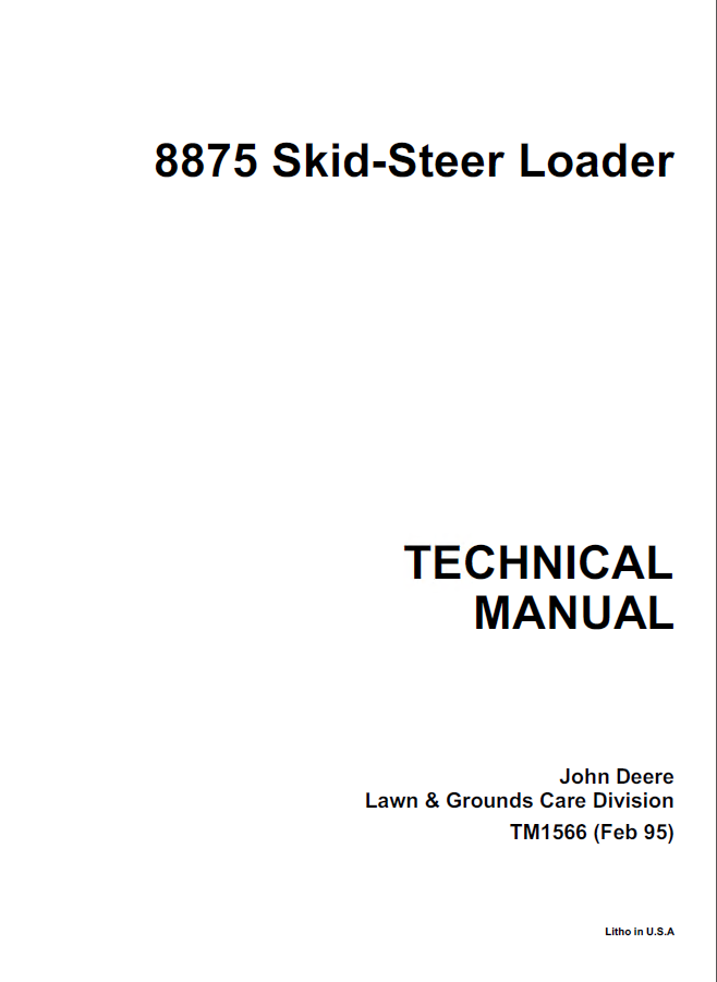 John Deere 8875 Skid Steer Loader Technical Manual Pdf. Repair Manual John Deere 8875 Skid Steer Loader Tm1566 Technical Pdf. John Deere. 8875 John Deere Wiring Schematic At Scoala.co