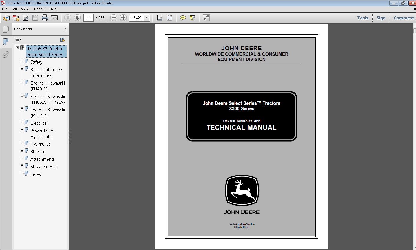 John Deere X300 Select Series Tractors Service Repair Manual Guide