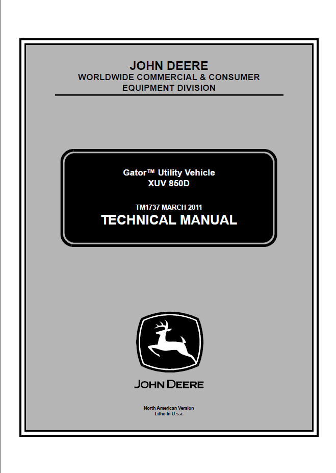 John Deere Gator Utility Vehicle XUV 850D Technical Manual
