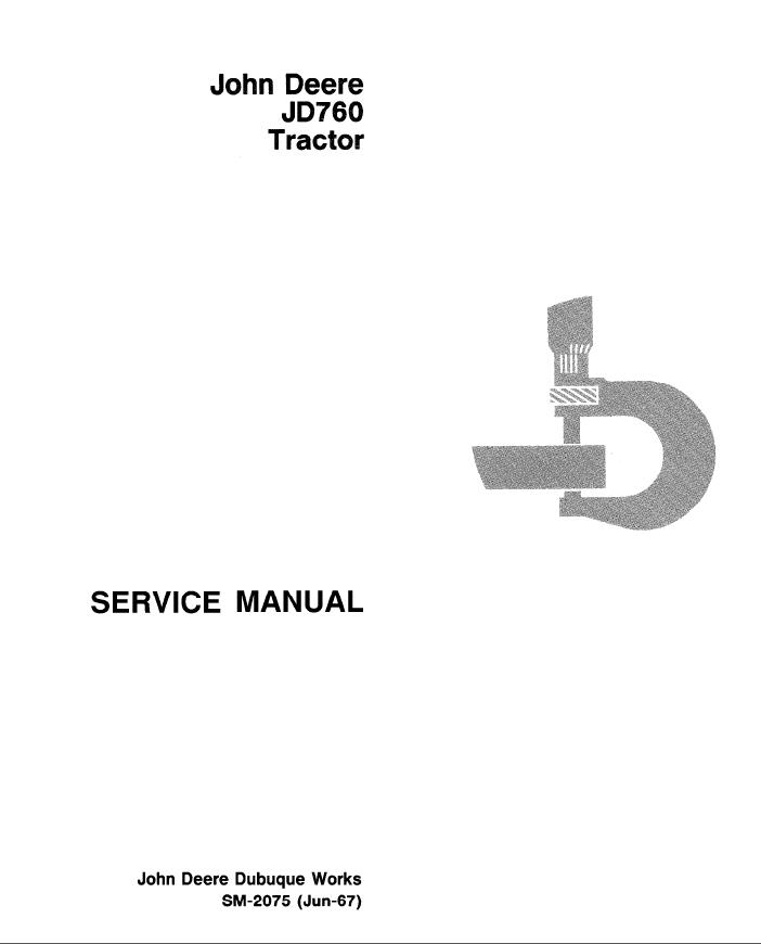 john deere jd760 tractor service manual sm 2075 pdf. Black Bedroom Furniture Sets. Home Design Ideas