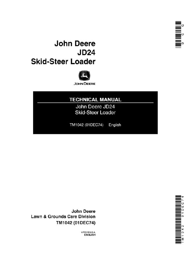 john deere jd24 skid steer loader technical manual tm1042. Black Bedroom Furniture Sets. Home Design Ideas
